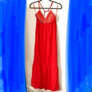 Flying Tomato Embroidered Racer Back Maxi Dress